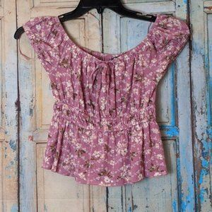 Freshman Forever Womens Small Pink Floral Top